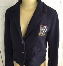 Tommy Hilfiger Crop Jacket Blazer Preppy Fleece Button Front Crest Logo Blue M