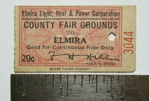 Rare 1920? Elmira Light Heat & Power Corp County Fair NY New York Trolley Ticket