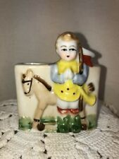 Vtg Occupied Japan 40's Boy Polo player Horse toothpick holder Small Vase