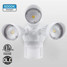 Motion Activated 3 Head Security Light Outdoor 120V 5000K White Led 30W Sensor