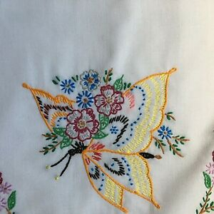 Vintage Pillow Case Hand Embroidered Butterfly Flowers Crocheted Edge 31 x 21in
