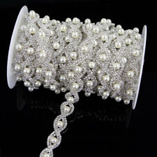 Rhinestone S Pearl Chain Trim,Bridal Dress Beaded Sash Belt,Silver Applique 1Yd
