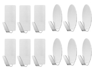 6X Self Adhesive Hooks Stainless Steel Strong Sticky Stick on Wall Door Hang New