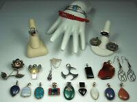 STERLING GEMSTONE JEWELRY LOT Mexico Navajo Turquoise Amethyst Lapis Malachite +