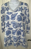 Gretchen Scott Women's Sz XS Blue White 3/4 Sleeve Tunic Top Seashells Print EUC