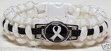 Lung Cancer Awareness White Ribbon Emblem White w/ Black Line Paracord Bracelet