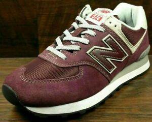 Size 10 New Balance 574 men's burgundy sports gym trainers / EU 44.5 sneakers