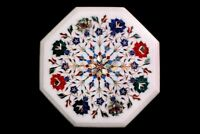 "12"" White Marble Coffee Table Top Semi Precious Inlay Handmade Floral Arts W628"