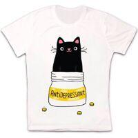 Cute Cat Kitten Antidepressant Funny Meme Cool Gift Retro Unisex T Shirt 2457