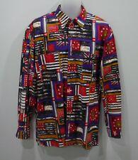 Rare Versace Jeans Couture Vintage Medusa & Flag Print Shirt Men's Size Medium