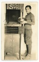 RPPC WWI Military Patriotic Victor Victrola Phonograph Boy Real Photo Postcard