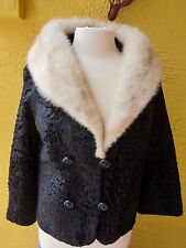 VINTAGE Women's Black Faux Caracul w/Mink Color Wrap Jacket size M SUPER Cute!