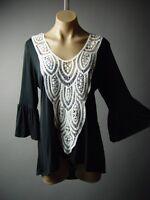 White Crochet Bell Sleeve Gypsy Boho Peasant Top 236 mv Blouse S M L XL 2XL 3XL