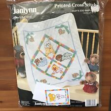 """Cross Stitch Baby Quilt Kit Janlynn Printed #38-72 Suzy's Zoo 34x43"""" NEW in pkg"""