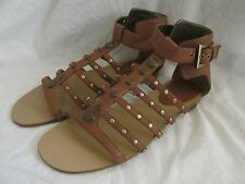 New Womens Nine West Ruffian Gladiator Sandals Size 8.5 Dk Natural Brown Studded