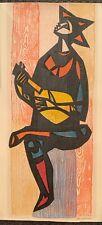 Vintage Irving Amen Signed Woodblock Print Singing Man Mid Century Modern Art