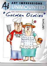 Art Impressions Rubber Stamp Cling BBQ Couple Cook Chef USA Ship