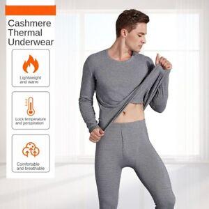 Winter Men Fleece Thermal Underwear Thermostatic Heating Cashmere Bottoming Set