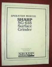 Sharp SG-618 Surface Grinder Operation Manual