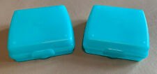 Lot of 2 TUPPERWARE SANDWICH KEEPERS Square Storage Containers #3752A-1 Teal NEW
