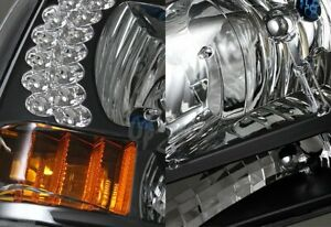 For 99-04 Ford F-250/F-350 SD/Excursion LED Black Headlights W/Amber Reflector