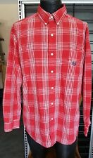 Chaps Mens Size L Large Long Sleeve Shirt Red Plaid Easy Care Button Down Pocket