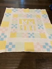 Handmade Baby Quilt Crib Bunnies Blue Green Pink White Yellow Flannel Thick