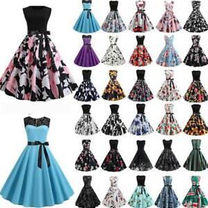Damen 50er Vintage Jahre Midikleid Rockabilly Petticoat Hepburn Abend Partykleid