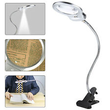 LED-illuminated Clip-on Desk Metal Hose Magnifier Magnifying Glass Loupe 4x,6x