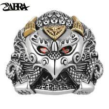 ZABRA Buddha Garuda Real 925 Sterling Silver Rings Myth Bird Red Cubic Zirconia