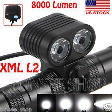 8000Lumen 2x CREE XM-L2 LED Front Bicycle Headlamp Cycling Bike light Headlight