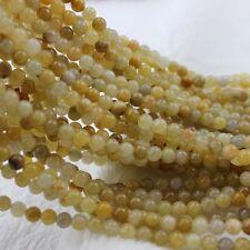 """6mm Round Yellow Jade Beads Semi Precious Gemstone Beads for Jewelry Making 15"""""""