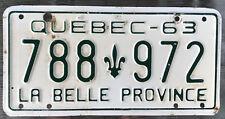 👍🌟🌟🌟👍 AUTHENTIC CANADA 1963 QUEBEC LICENSE PLATE. LA BELLE PROVINCE