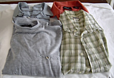 Men's Size M Shirt Lot of 4 Polos, Long Sleeve Pullover, Button Up