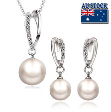 18K White Gold Filled Earrings And Necklace With Pearl And SWAROVSKI Crystal Set