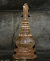 """9,6 """"Vieux Tibet Bouddhisme Cristal Sculpture Reliques Bouddhistes Stupa Tour"""