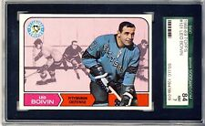 1968-69 TOPPS # 101 LEO BOIVIN,PENGUINS,HOF-SGC 84(7)+++++++VIVID  BEAUTY !