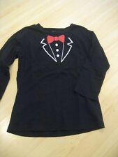 NEW Girls 5T Black Red MY BABY BLING Tuxedo Front Knit SHIRT Tunic TOP L/S
