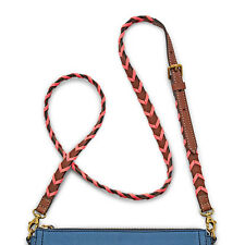NEW Fossil Brown and Neon Coral Whip Stitch Leather Crossbody Strap NWT $58