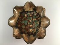 """Vintage Dryden art pottery shallow footed dish Hot Springs Arkansas 8"""" wide"""