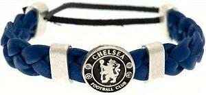 CHELSEA FC BLUE PU LEATHER FASHION SLIDER BRACELET WRISTBAND One size CFC