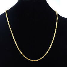 Stainless Steel Gold Plated Twisted Rope Chain Necklace 56cm