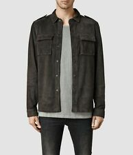 "All Saints Men's Anthracite ""Dover"" Leather Shirt Jacket Coat - Small"