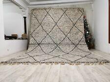 "Large Handmade Moroccan Reversible Wool Carpet 9'6""x13' Zanafi Gray Flate Rug"