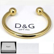 "DG Men's Gold Stainless Steel 7"" Round Cuff Bracelet.Classics Unisex + Box"