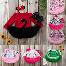 Newborn Toddler Baby Girl Romper Tutu Dress Headband Shoes Party Outfits Clothes