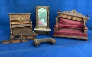 Antique Miniature Dollhouse Wooden  Parlor Furniture Pieces Lot