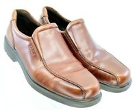 ECCO Loafer Men's EUR 46 US 12-12.5 Brown Leather Bicycle Toe Slip On Dress Shoe