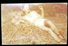 Vintage Photo Sexy Young Lady laying On The Hay. Vintage Lingerie