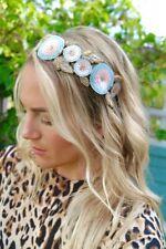 Gold Pink Blue Flower Jewelled Alice Head Band Fascinator Hair Jewellery Bridal